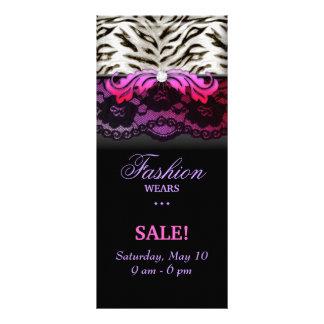 Fashion Zebra Jewelry Lace Rack Card Red Purple