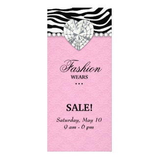 Fashion Zebra Jewels Pearl Heart Lace Pink Rack Card