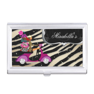 Fashion Zebra Scooter Purse Girl Jewelry Case For Business Cards