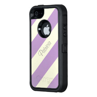 Fashionable African Violet Stripes On Unique Beige OtterBox Defender iPhone Case