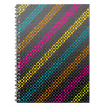 Fashionable and cool colourful dots and stripes spiral notebooks