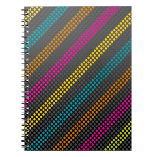 Fashionable and cool colourful dots and stripes spiral note book