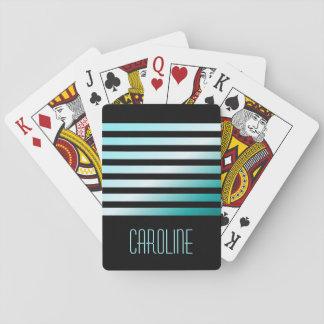 Fashionable aqua blue stripes black personalized playing cards
