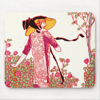 Fashionable Art Deco Lady in a Rose Garden Mouse Pad