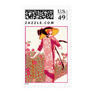 Fashionable Art Deco Lady in a Rose Garden Stamps
