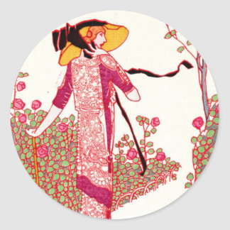Fashionable Art Deco Lady in a Rose Garden Round Stickers