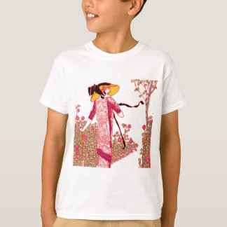 Fashionable Art Deco Lady in a Rose Garden T-Shirt