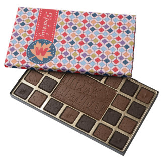 Fashionable Autumn Fall Geometric Pattern Monogram 45 Piece Box Of Chocolates