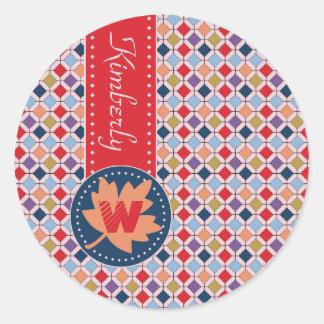 Fashionable Autumn Fall Geometric Pattern Monogram Classic Round Sticker
