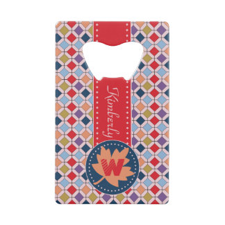 Fashionable Autumn Fall Geometric Pattern Monogram Credit Card Bottle Opener