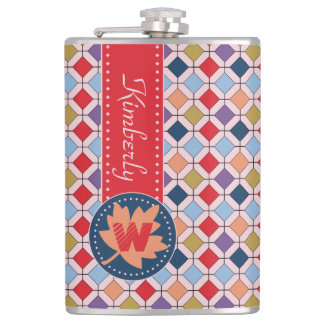 Fashionable Autumn Fall Geometric Pattern Monogram Flask