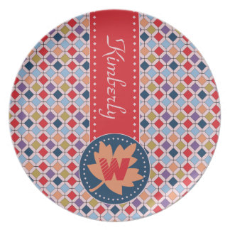 Fashionable Autumn Fall Geometric Pattern Monogram Melamine Plate