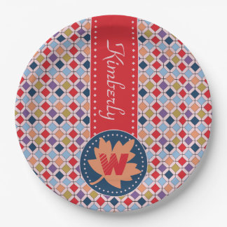 Fashionable Autumn Fall Geometric Pattern Monogram Paper Plate