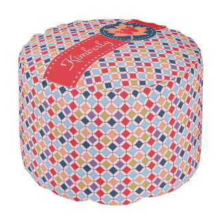 Fashionable Autumn Fall Geometric Pattern Monogram Pouf
