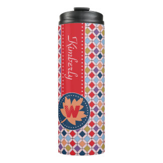 Fashionable Autumn Fall Geometric Pattern Monogram Thermal Tumbler