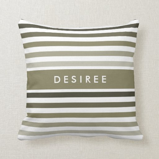 Fashionable Big Olive Green Stripes With Name Throw Pillow Zazzle