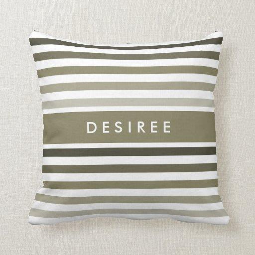 Big Green Throw Pillows : Fashionable Big Olive Green Stripes With Name Throw Pillow Zazzle