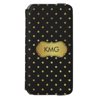 Fashionable Black Gold Glitter Dots Monograms Incipio Watson™ iPhone 6 Wallet Case