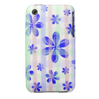 Fashionable Blue Flower with brushed pastel stripe Case-Mate iPhone 3 Cases