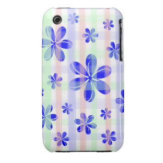 Fashionable Blue Flower with brushed pastel stripe iPhone 3 Case-Mate Cases