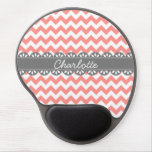 Fashionable Coral Chevron and Grey Lace Gel Mousepads