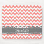 Fashionable Coral Chevron and Grey Lace Mouse Pad