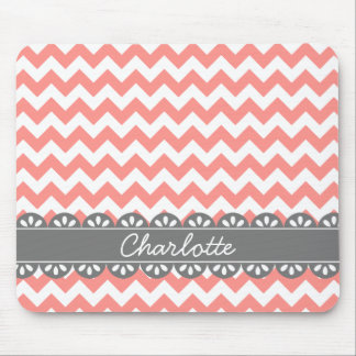 Fashionable Coral Chevron and Grey Lace Mouse Pads