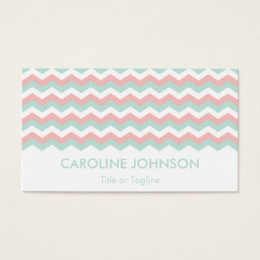 Professional Business Fashionable Coral Mint Green White Chevron Zigzag Business Card