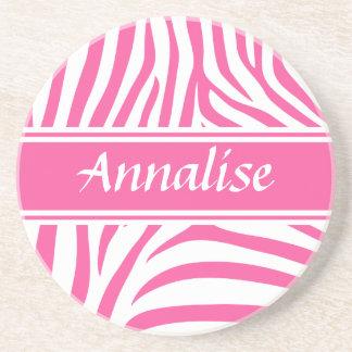 Fashionable customizable Pink white zebra pattern Beverage Coaster