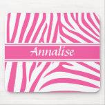 Fashionable customizable Pink white zebra pattern Mouse Pad