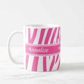 Fashionable customizable Pink white zebra pattern Classic White Coffee Mug