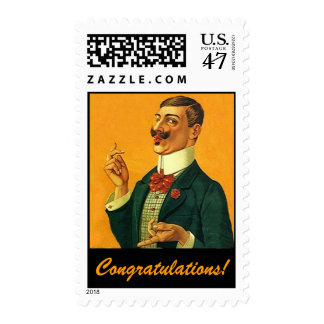 Fashionable Dapper Snapper Congratulations Stamps
