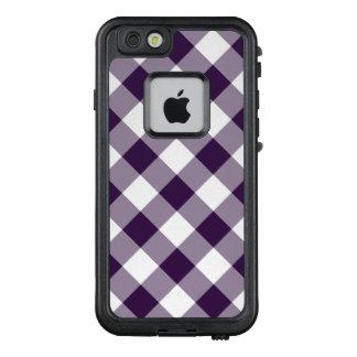 Fashionable Diagonal Purple & White Checked Plaid LifeProof FRĒ iPhone 6/6s Case