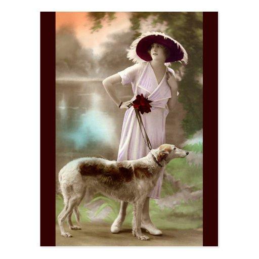 Fashionable Dog Walk Post Cards