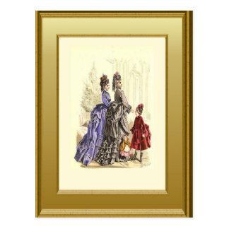Fashionable family postcard