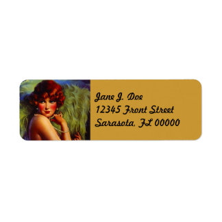 Fashionable Fan Flapper Night Return Address Label
