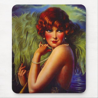 Fashionable Flapper Girl ~ Evening At the Beach Mouse Pad