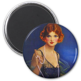 Fashionable Flapper Girl w/ midnight blue dress Magnet