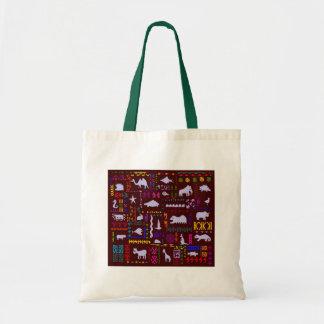 Fashionable Folk Art Tote Bag Wild Animals Safari