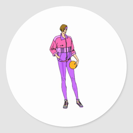 Fashionable girl basketball player classic round sticker
