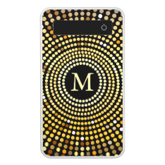 Fashionable Gold Gradient Sparkle Pattern Monogram Power Bank at Zazzle