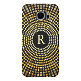 Fashionable Gold Gradient Sparkle Pattern Monogram Samsung Galaxy S6 Case