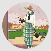 Fashionable Golf Attire Classic Round Sticker