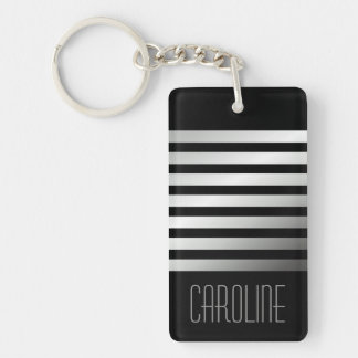 Fashionable gray stripes black personalized Double-Sided rectangular acrylic keychain