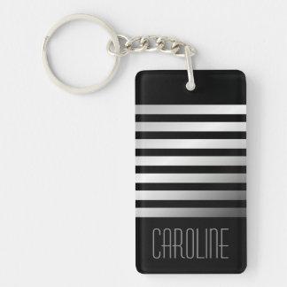 Fashionable gray stripes black personalized keychain