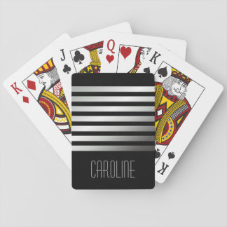 Fashionable gray stripes black personalized playing cards