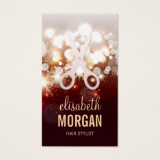 Fashionable Hair Stylist - Gold Glitter Sparkle Business Card at Zazzle