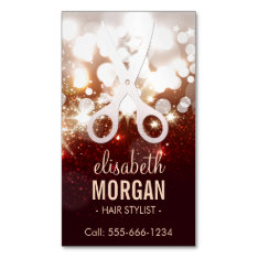 Fashionable Hair Stylist - Gold Glitter Sparkle Business Card Magnet at Zazzle