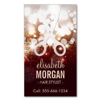 Fashionable Hair Stylist - Gold Glitter Sparkle Magnetic Business Cards (Pack Of 25)