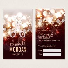 Fashionable Hair Stylist Gold Sparkle Appointment Business Card at Zazzle